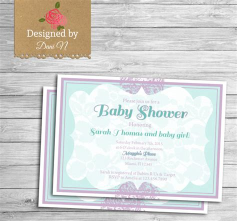 baby shower invitation purple and teal lace baby shower chiq
