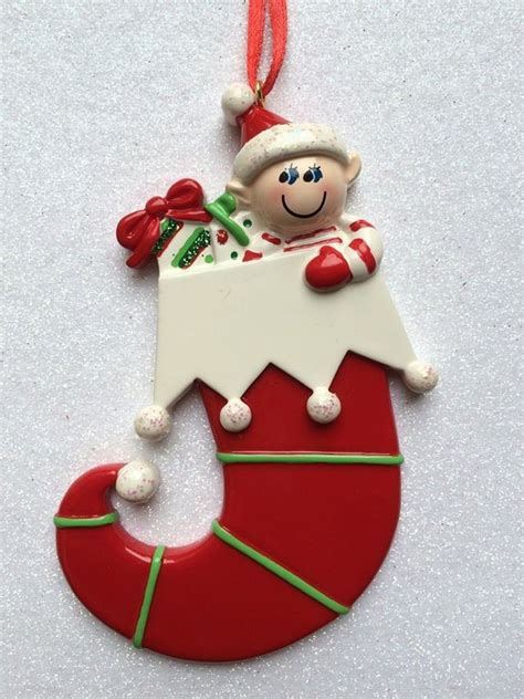 elf in stocking personalised christmas tree decoration