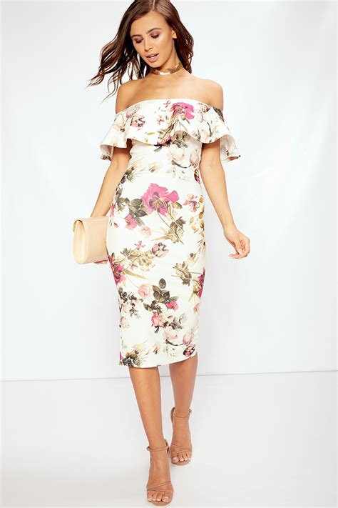 Dress Midi Flower angie white floral bardot midi dress