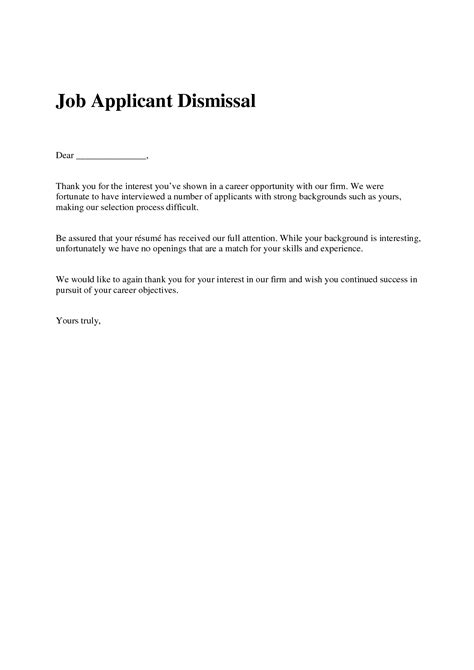 Employment Rejection Thank You Letter Best Photos Of Rejection Letter Sle Offer