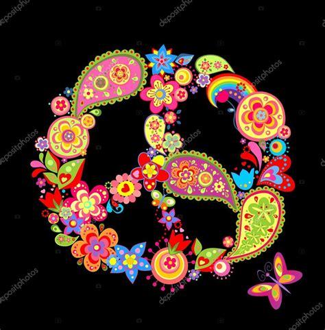 simbolo fiore stare con simbolo della pace fiore con fiori e paisley