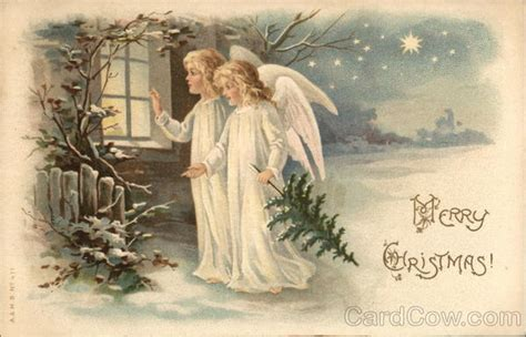 merry christmas angels    window postcard