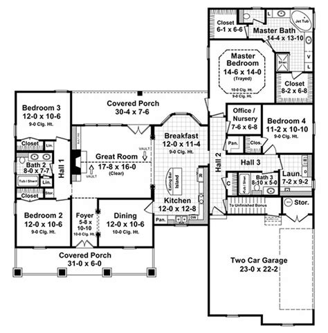 country style floor plan country style house plan 4 beds 3 baths 2250 sq ft plan