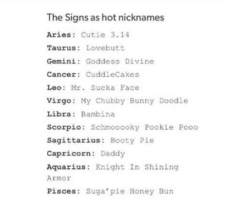hot nicknames for girls hot nicknames zodiac signs facts pinterest
