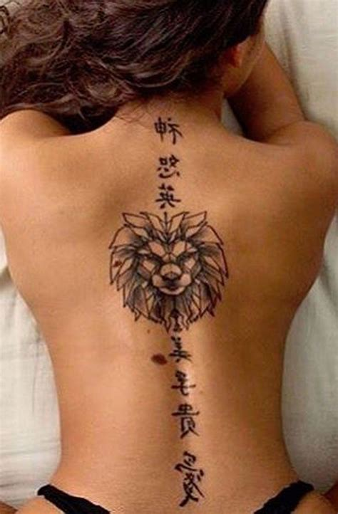 tattoo designs for ladies back japanese kanji characters spine tat geometric