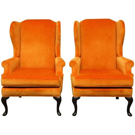 queen anne recliners sale pair of queen anne style orange crush velvet wing chairs