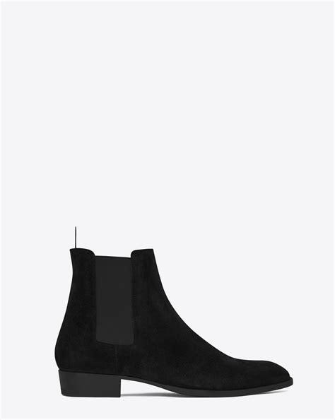 ysl chelsea boots laurent classic wyatt 30 chelsea boot in black suede