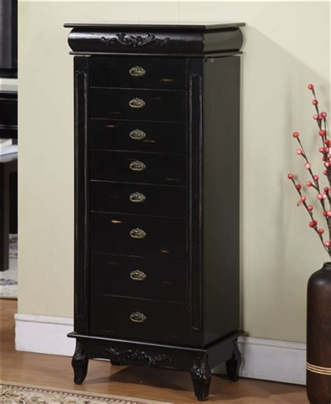 black jewelry armoires large black antique style jewelry armoire with eight drawers