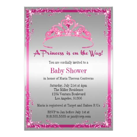 Princess Baby Shower Invitation Templates Free princess baby shower invitation zazzle