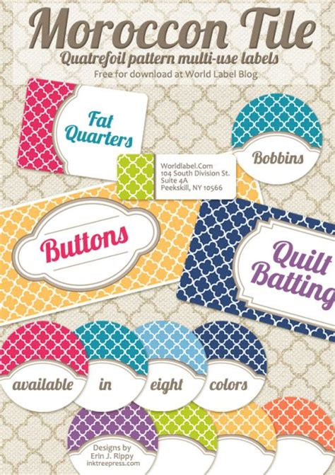 editable quatrefoil labels  label templates printable labels