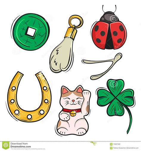 vector set  lucky charms symbols  talismans