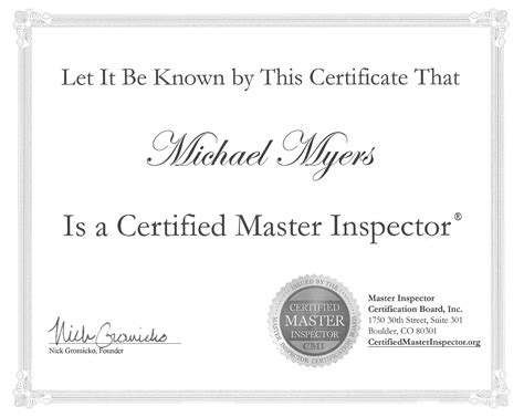 collection of home inspector certification