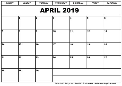 printable calendar april 2018 to march 2019 april 2019 calendar template