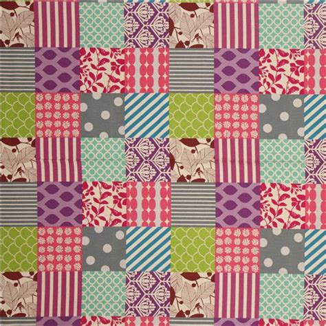 Purple Patchwork Fabric - patchwork echino canvas fabric pink grey purple