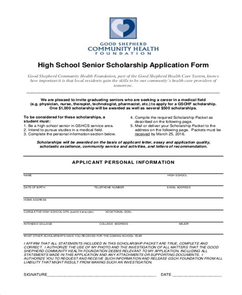 9 Sle Scholarship Application Forms Free Sle Exle Format Scholarship Application Template Pdf