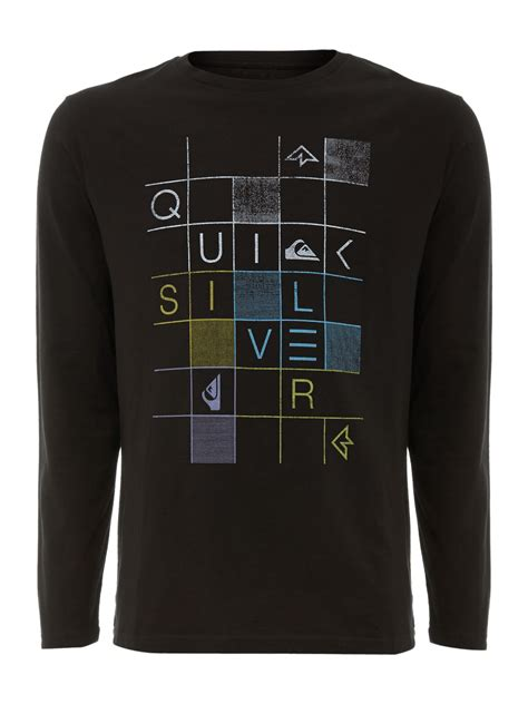 quiksilver crew neck logo  shirt  black  men lyst