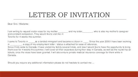 Letter Of Invitation To Canadian Embassy business visa invitation letter sle canada