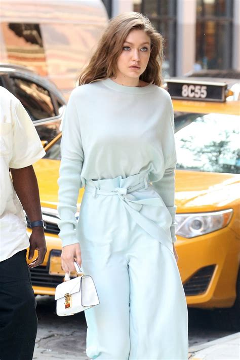 this baby photo of gigi hadid proves she was born to be a gigi hadid looks beautiful in baby blue as she arrives