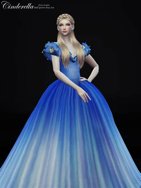 ball gown sims 4 flower chamber cinderella ball grown poses set sims 4