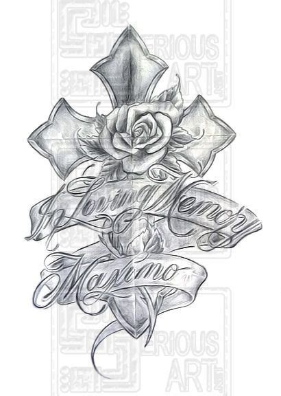 rose rip tattoo designs memorial grey ink cross with and banner design