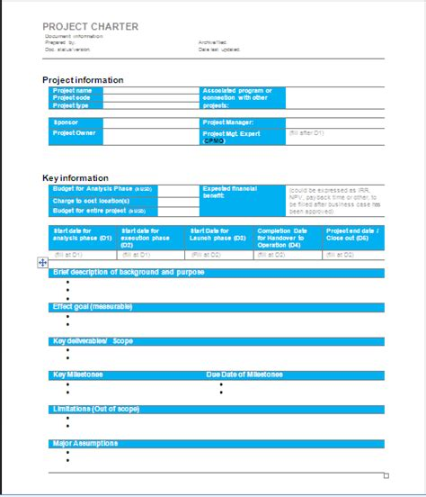 project management plan template pmbok project charter template template business