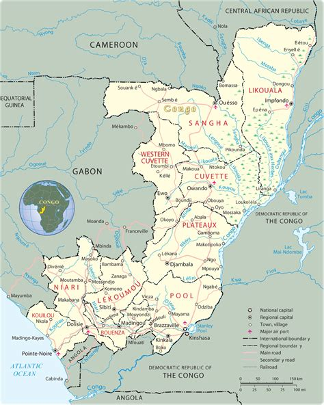 congo map regional capitals in the republic of the congo