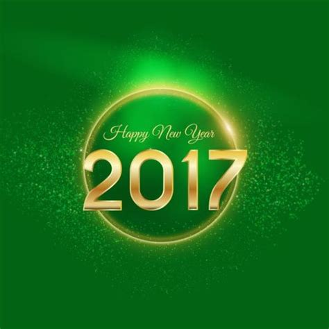 new year color green golden 2017 happy new year with green background vector 01