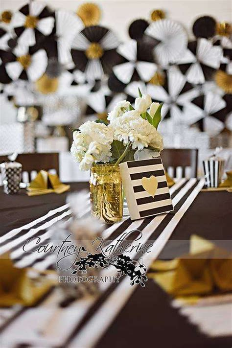 Black And White Baby Shower Ideas by Black White Gold Baby Shower Ideas