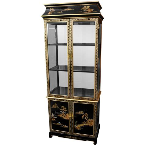Painted Curio Cabinets by Ming Pagoda Top Curio Cabinet W Painted