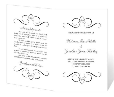 wedding ceremony layout template wedding program template printable instant download