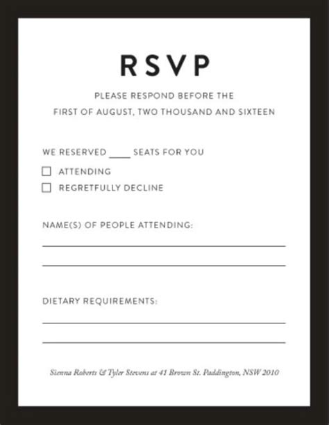 Rsvp Cards Australia S Best Local Designs Printed By Paperlust Dietary Requirements Email Template
