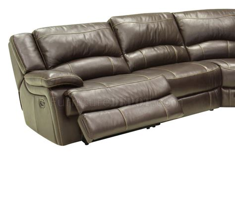 mahogany leather contemporary reclining 6pc sectional