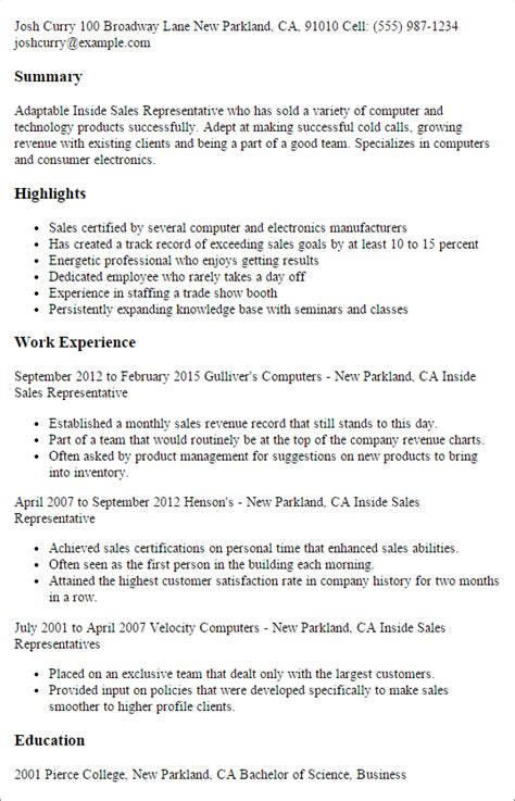Sales Representative Sle Resume by Professional Inside Sales Representative Templates To Showcase Your Talent Myperfectresume