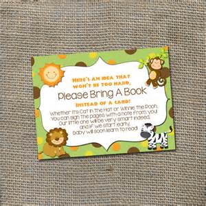 Bring A Book Instead Of A Card Baby Shower Jungle Safari Baby Shower Theme Please Bring A By Worldofthought