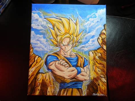 painting goku canvas goku by zet es prod