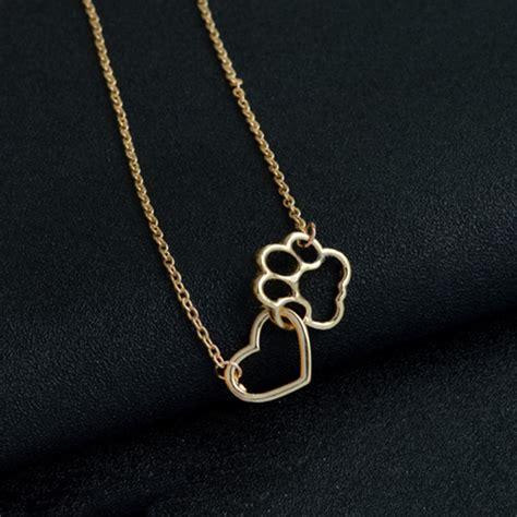 Cat Paw Necklace simple pets cat paw footprint pendant