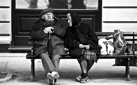 old people on a bench people monochrome men males women females old retro humor