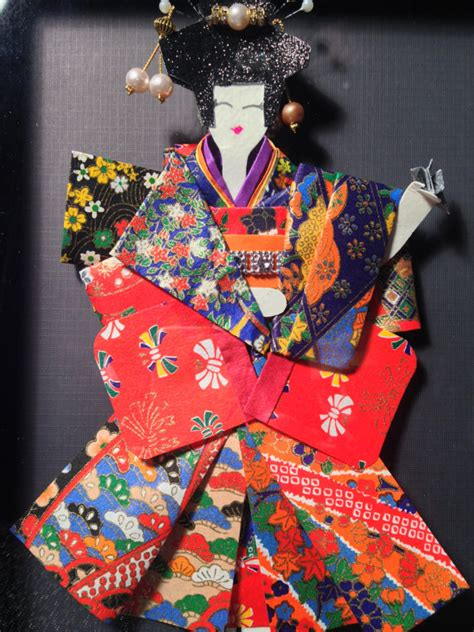 Origami Geisha - origami geisha in shadow box frame