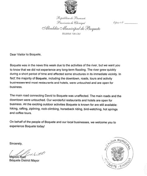 Official Letter Là Gì Official Letter From Manolo Ruiz Boquete S Mayor To Boquete S Visitors