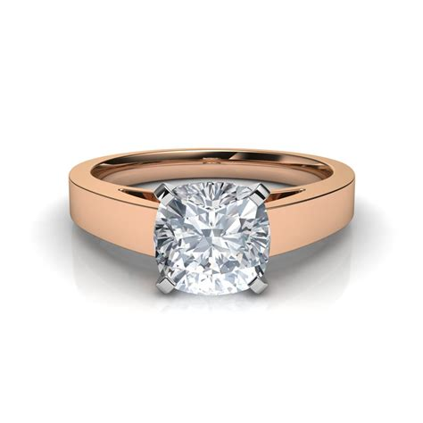 flat edge cushion cut solitaire engagement ring in