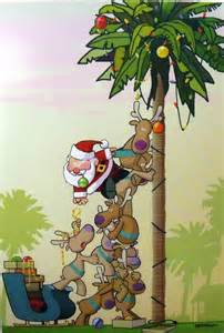 tropical santa and reindeer decorating palm tree christmas