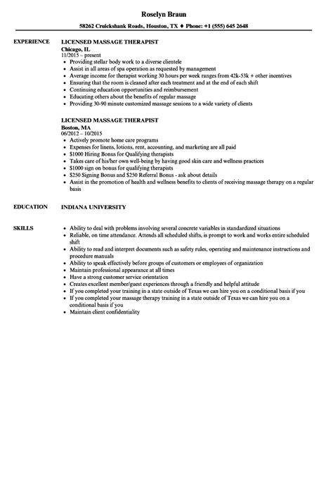 licensed massage therapist resume sles velvet jobs