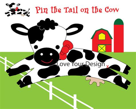 printable version of pin the tail on the donkey cow farm game for birthday party pin the tail on the cow