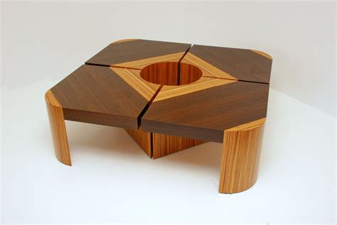 Custom Handmade Furniture - handmade bloom table set wenge zebra wood by furniture