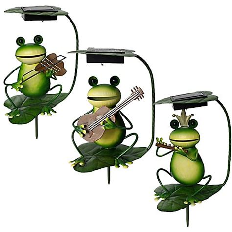 Frog Solar Lights Solar Powered Frog Band Lighted Garden Stakes Bed Bath