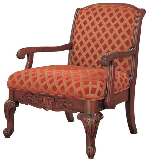 Traditional Accent Chair Coaster Cherry Upholstered Chair With Wood Armrests Traditional Armchairs And Accent Chairs