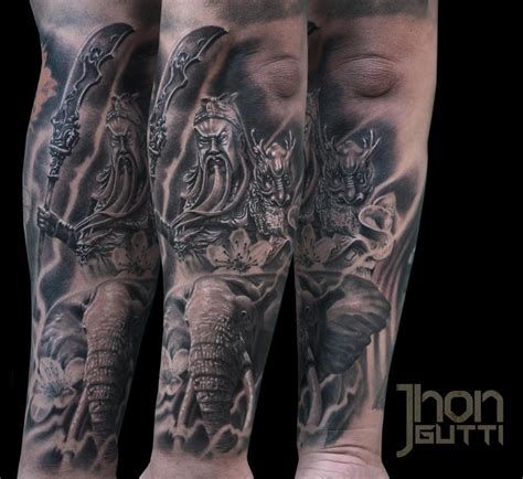 guan yu with elephant by jhon gutti tattoos
