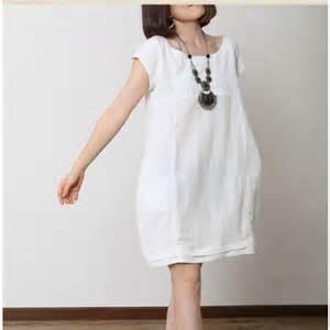 solid white summer women linen dress plus size cotton