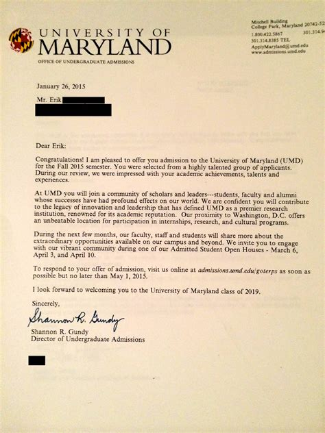 Umd College Park Acceptance Letter an open letter to high school students who are struggling
