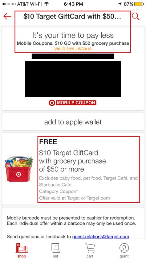 Target Mobile App Gift Card - target app coupons 10 target gift card with 50 grocery purchase expires today